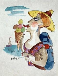 Ice cream - XXI century, Watercolour, Figurative, Colourful, Satirical
