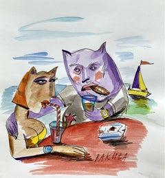 A beverage - XXI century, Watercolour, Figurative, Colourful, Satirical