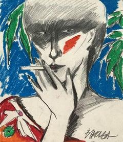Selfportrait - XX century, Crayon drawing, Figurative, Colourful