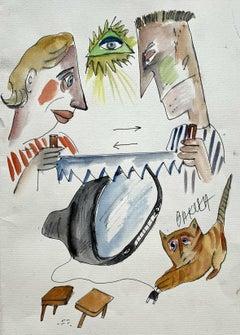 Agreement - XXI century, Watercolour, Figurative, Colourful, Satirical