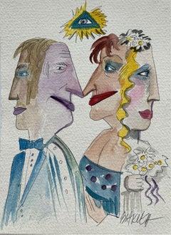 Wedding anniversary - XXI century, Watercolour, Figurative, Colourful, Satirical