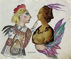 Renaissance familiarity - Watercolour collage, Figurative, Colourful, Satirical