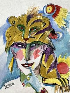 Selfportrait of a tigress - Watercolour, Figurative, Colourful