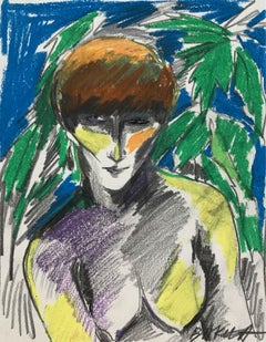 Selfportrait - Crayon drawing, Figurative, Colourful, Woman, Nude