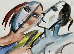 Erotic - Watercolor painting, Figurative, Colourful, Woman, Nude