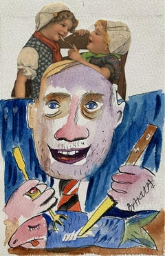 A gluttony - Watercolor painting & collage, Figurative, Colourful, Satirical