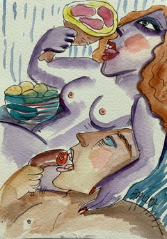A gluttony - Watercolor painting, Figurative, Colourful, Nude