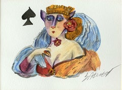Lady of spades - Watercolor painting, Figurative, Colourful