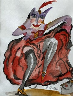 Cancan - Watercolor painting, Figurative, Colourful, Dance, Satirical