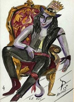 Le Roi - Watercolor painting, Figurative, Colourful