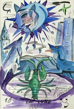 La Lune - Watercolor painting, Figurative, Colourful, Blue green & purple