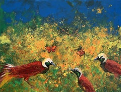 Gardens of Delight LVII - XXI century figurative oil painting, Birds, Colorful