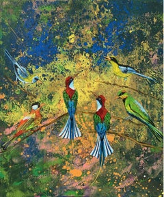 Gardens of Delight LVI - XXI century figurative oil painting, Birds, Colorful