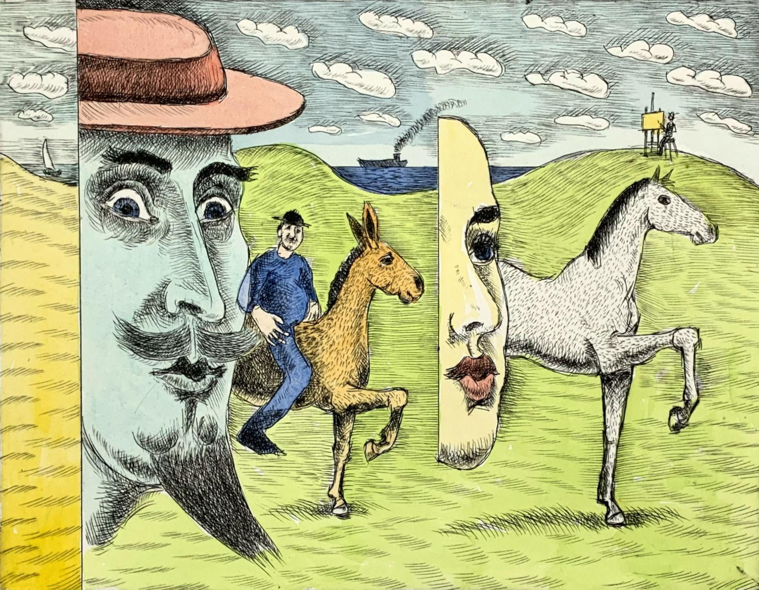 A painter & Don Kichot - XXI Century, Figurative drypoint print & watercolor