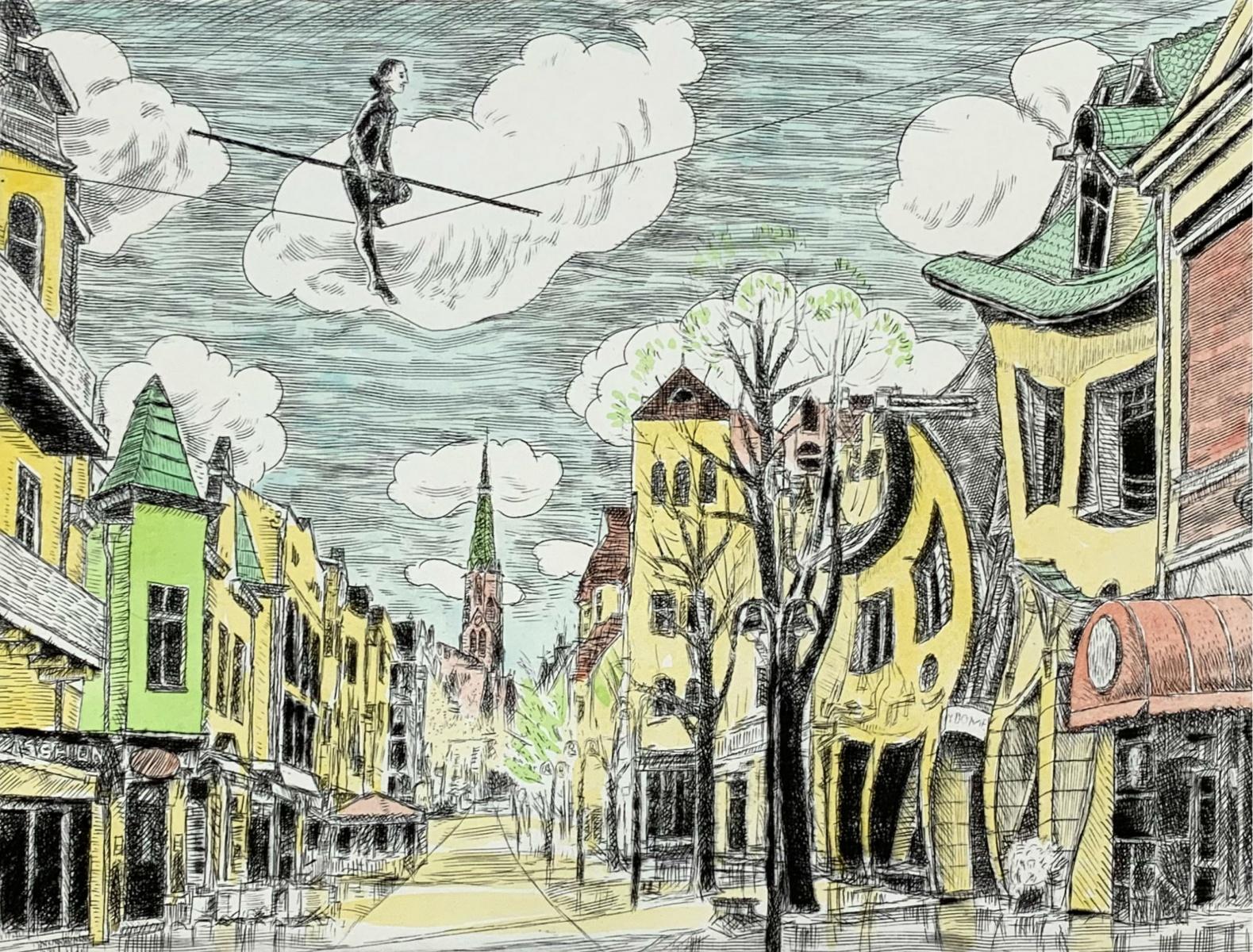 Sopot city, Monte Cassino street - Figurative drypoint print & watercolor