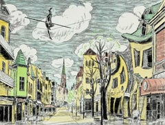 Sopot city, Monte Cassino street - Figurative drypoint print & watercolor