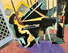 Pianist in Warsaw - Figurative drypoint print & watercolor, Colorful, Music