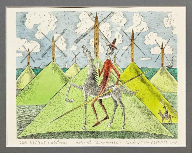 Don Kichot & a windmill - Figurative drypoint print & watercolor, Colorful - Print by Czeslaw Tumielewicz