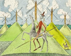 Don Kichot & a windmill - Figurative drypoint print & watercolor, Colorful