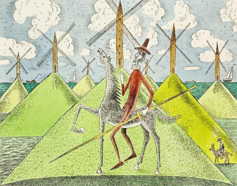 Czeslaw Tumielewicz Landscape Print - Don Kichot & a windmill - Figurative drypoint print & watercolor, Colorful