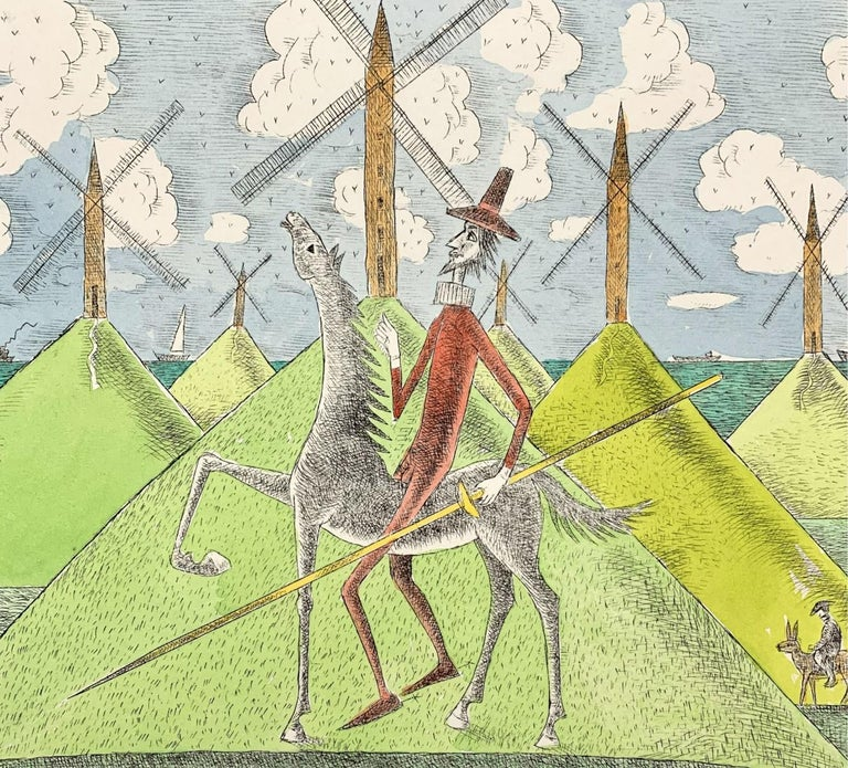 Don Kichot & a windmill - Figurative drypoint print & watercolor, Colorful - Contemporary Print by Czeslaw Tumielewicz