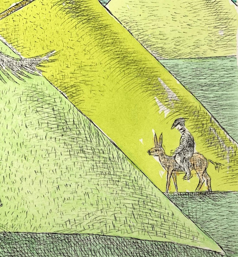 Don Kichot & a windmill - Figurative drypoint print & watercolor, Colorful - Green Landscape Print by Czeslaw Tumielewicz