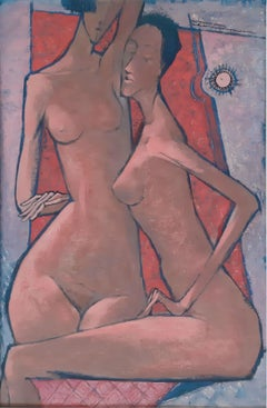 Nudes - XX Century, Contemporary Figurative Own Technique on Board Painting