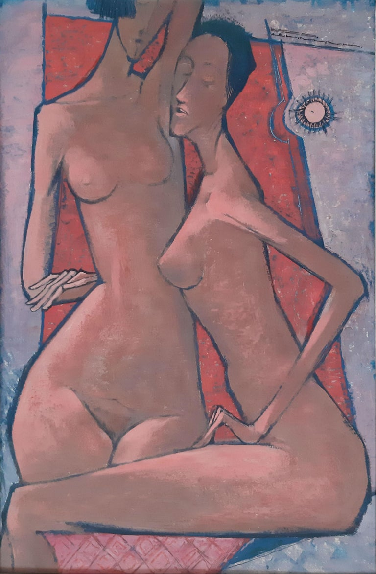Eza Szymczuk Nude Painting - Nudes - XX Century, Contemporary Figurative Own Technique on Board Painting