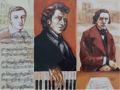Frederick Chopin - Contemporary Portrait Painting, Music & notes, Realism