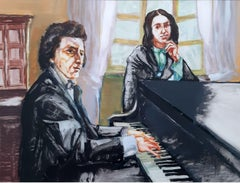Frederick Chopin & George Sand- Contemporary Portrait Painting, Music, Realism