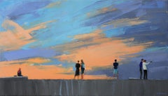 Dusk I -  Figurative oil painting, Landscape, Blue & orange