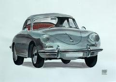 Porsche 356BT - Contemporary Watercolor & Ink Painting, Vintage Car, Realistic