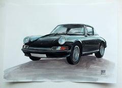 Porsche 911F - Contemporary Watercolor & Ink Painting, Vintage Car, Realistic
