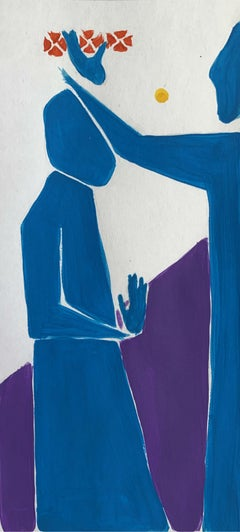 A blessing - Figurative Acrylic Painting on Paper, Vibrant colors, Abstraction