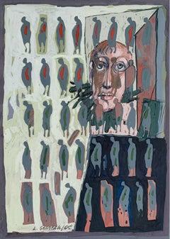 A memories - XXI Century, Gouache Painting, Figurative, Portrait