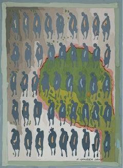 Evening passes - XXI Century, Gouache Painting, Figurative