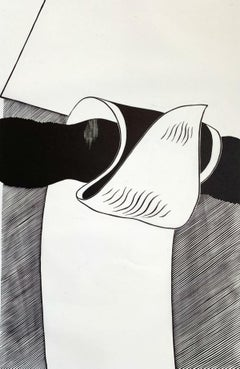 In a move - XX Century abstraction woodcut print, Black & white