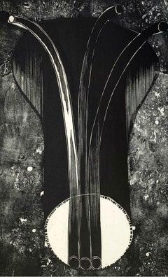 A probe - XX Century abstraction woodcut print, Black & white