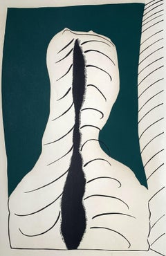 Associated - XX Century abstraction woodcut print, Green black & white