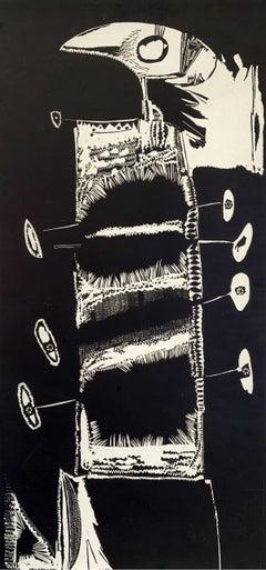 A bird - XX Century abstraction woodcut print, Black & white