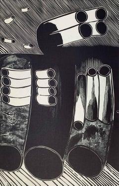 Bird of peace - XX Century abstraction woodcut print, Black & white