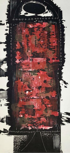 A creature III - XX Century abstraction woodcut print, Red black & white