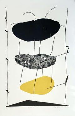 Linking - XX Century abstraction woodcut print, Yellow black & white