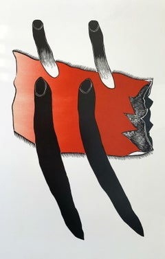26 XII - XXI Century abstraction woodcut print, Red black & white