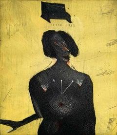 My wife's camera - XX Century figurative etching print, Yellow & black, Surreal
