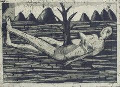 Tree of life - XX Century figurative etching print, Monochromatic, Surreal
