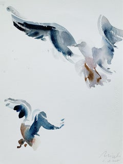 Birds LXXV - XXI Century, Watercolor Figurative Painting, Vertical
