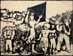 Vacation - XX century, Black and white print, Woodcut, Polish art master
