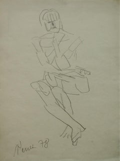 A drawing - XX century, Minimalistic portrait drawing, Polish art master