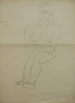 A drawing - XX century, Female nude drawing, Polish art master